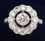 Big beautiful art deco platinum 1.45ct diamond cluster vintage antique target ring